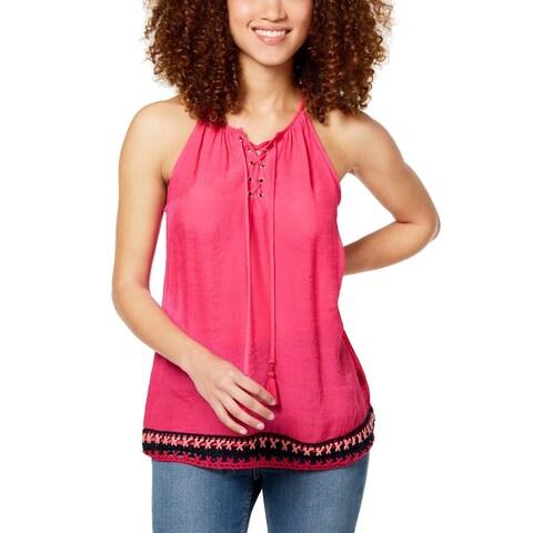BCX Pink Size Small S Junior Split Neck Crochet-Hem Lace Up Tank Top