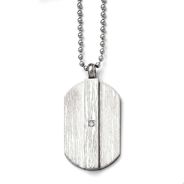 Chisel Stainless Steel Brushed and Polished with CZ Necklace - 20 in