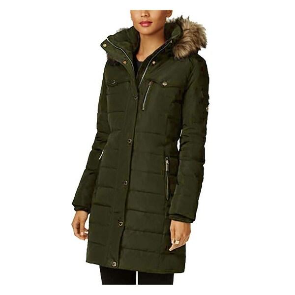 Michael Kors Women Large Belted Faux Fur Hooded Jacket