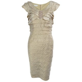 London Times Women's Tiered Sheen Dress - Sand Dollar