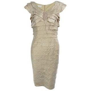 London Times Women's Tiered Sheen Dress