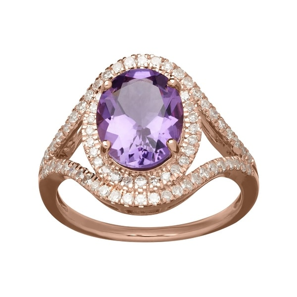 2 3/8 ct Amethyst and 3/8 ct Diamond Ring in 10K Rose Gold