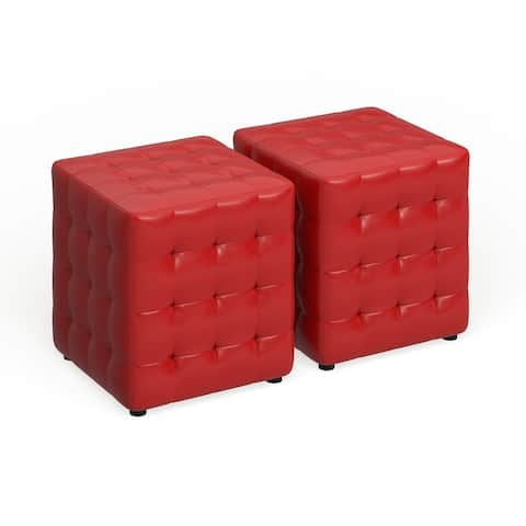 Porch & Den Las Olas Red Cube Ottoman (Set of 2)