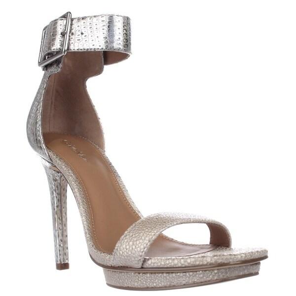 Calvin Klein Vable Ankle-Strap Square Toe Platform Sandals, Sand/Silver