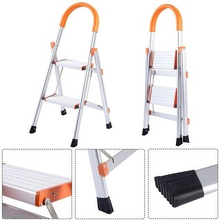 Gymax Non-slip 2 Step Aluminum Ladder Folding Platform