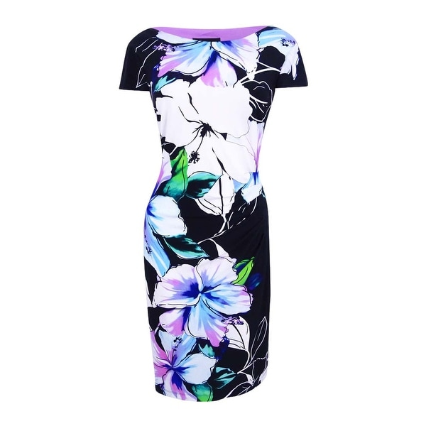 Connected Women's Floral Ruched Sheath Dress - Lavender