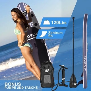 Goplus 10' Inflatable Stand Up Paddle Board SUP w/ 3 Fins Adjustable Paddle Backpack