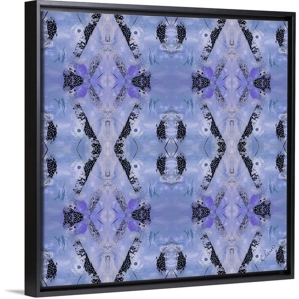 """Blue Diamonds I"" Black Float Frame Canvas Art"