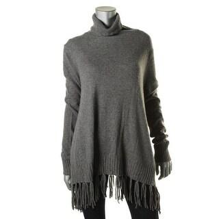 Velvet Womens Cashmere Fringe Turtleneck Sweater