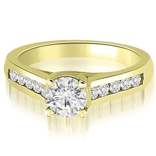 0.66 cttw. 14K Yellow Gold Trellis Cathedral Round Cut Diamond Engagement Ring
