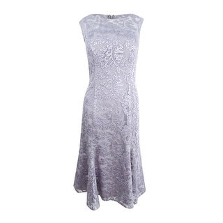 Alex Evenings Women's Embroidered Tulle Midi Dress (8, Pewter Frost) - Pewter Frost - 8