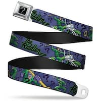 "Riddler ""?"" Black Silver The Riddler Poses ""?"" Purples Green Black Webbing Seatbelt Belt"