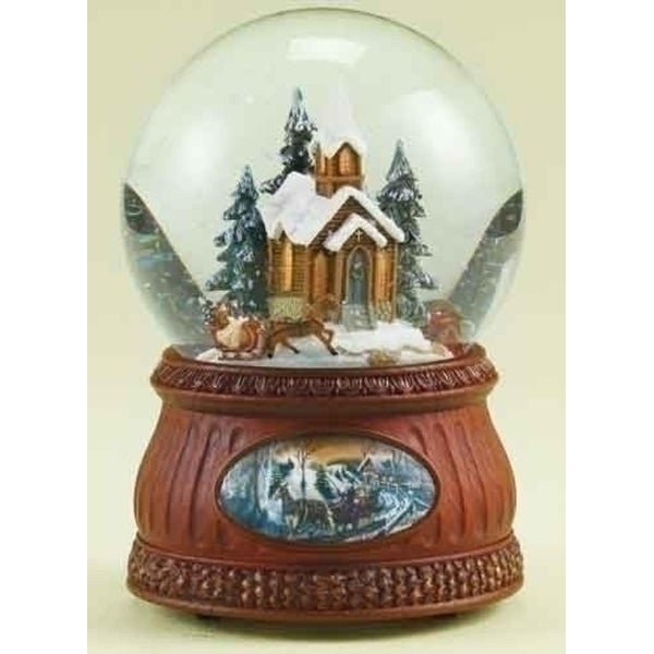 Set of 2 Brown and Clear Animated and Musical Church with Sleigh Ride Christmas Domes 6.5""