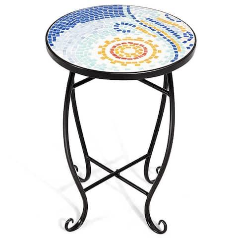 Outdoor Indoor Steel Accent Plant Stand Cobalt Table - Navy - Blue