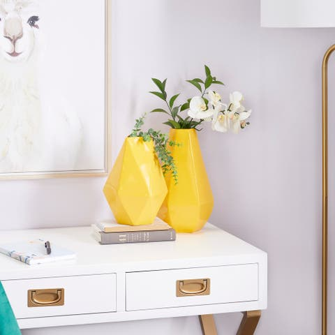 CosmoLiving by Cosmopolitan Yellow Iron Contemporary Vase 12 x 10