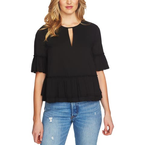 1.State Womens Blouse Ruffled Elbow Sleeve