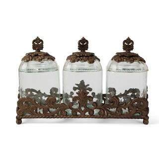 Set of 3 Clear and Brown Molded Acanthus Leaf Base Crafted Glass Canisters 19.5