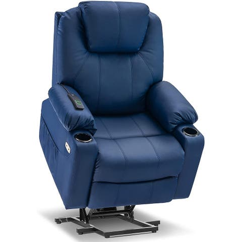 Mcombo Electric Power Lift Recliner Chair Sofa with Massage and Heat for Elderly, Pockets and Cup Holders Faux Leather 7040