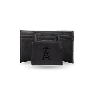 4 Black MLB Los Angeles Angels Laser Engraved Trifold Wallet N A
