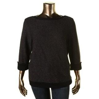 Karen Scott Womens Plus Metallic Cuff Sleeves Pullover Sweater