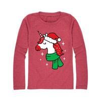 Unicorn Santa Hat  - Youth Girl Long Sleeve Tee