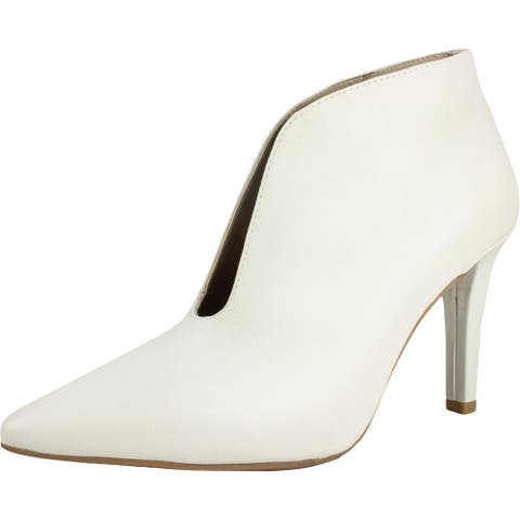 Rialto Womens Maverick Booties Ankle Pointed Toe - Winter White/Smooth - 6 Medium (B,M)