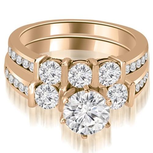 1.90 cttw. 14K Rose Gold Bar Set Round Cut Diamond Engagement Set