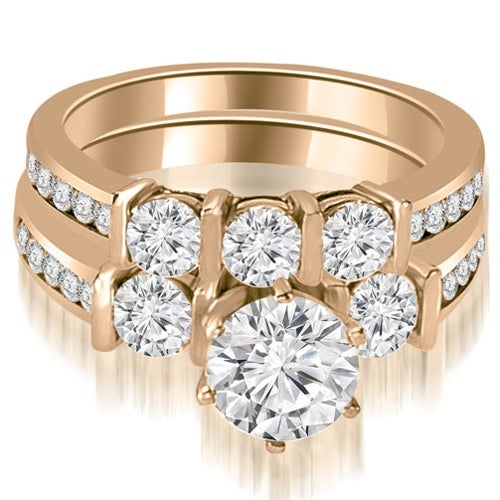 2.15 cttw. 14K Rose Gold Bar Set Round Cut Diamond Engagement Set - White H-I