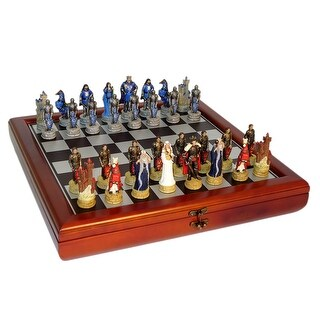King Arthur Court Chess Set With Chest Style Board - Multicolored