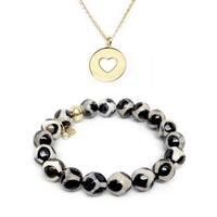 Black & White Agate Bracelet & Heart Disc Gold Charm Necklace Set