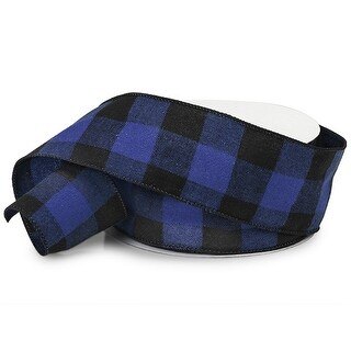 """Pack Of 1, Buffalo Plaid Black & Navy Wired Ribbon 2.5"""" X 25 Yards Perfect For Making Bows To Christmas Season Or Every Day Use"""