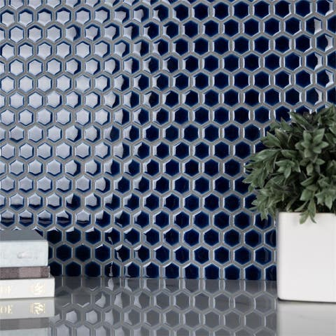 """SomerTile Hudson 1"""" Hex Smoky Blue 13-1/4 in. x 11-7/8 in. x 5mm Porcelain Mosaic Floor and Wall Tile"""