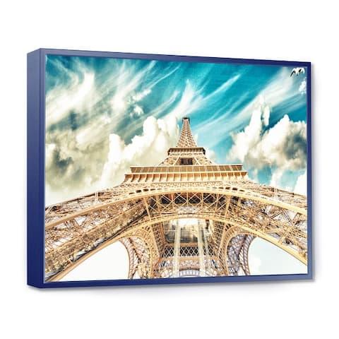 Designart 'Paris Eiffel TowerUnder Blue Sky' Photography Framed Canvas Art Print