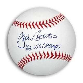 "Jim Bouton Autographed MLB Baseball Inscribed ""62 WS Champs"""