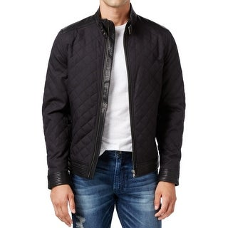 Guess NEW Black Quilted Mens Size Small S Faux-Leather Full-Zip Jacket