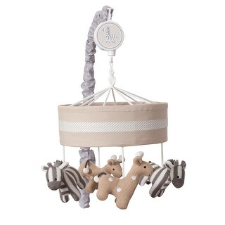 Lambs & Ivy Jungle Safari Tan/Gray Giraffe/Zebra Musical Baby Crib Mobile Toy