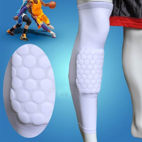 Image Size L Basketball Knee Pads Leg Long Sleeves Honeycomb Protector Gear Anti-slip Pad White