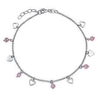 Bling Jewelry 925 Silver Open Heart Ankle Bracelet Crystal Pink Anklet