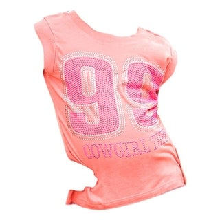 Cowgirl Tuff Western Shirt Girl Crystal 99 Tank Top Thing Coral S00849
