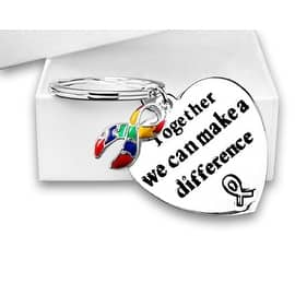"""Autism and Asperger Awareness Ribbon Key Chain with words """"Together We Can Make A Difference"""" in a Gift Box