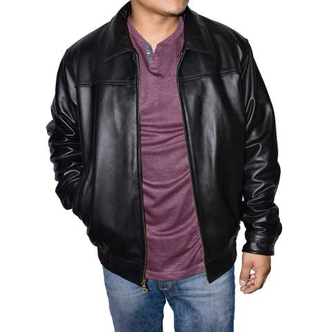 Victory Outfitters Men's Classic Black Lambskin Bomber Jacket