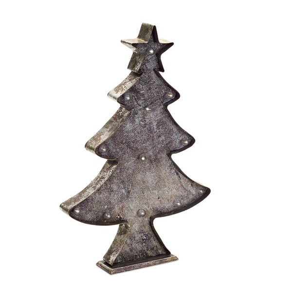 """19"""" Rustic Brown and Bronze Colored LED Christmas Tree Tabletop"""