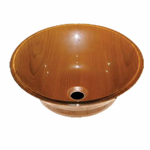Tempered Glass Vessel Sink Wood Grain with Mounting Hardware & Drain