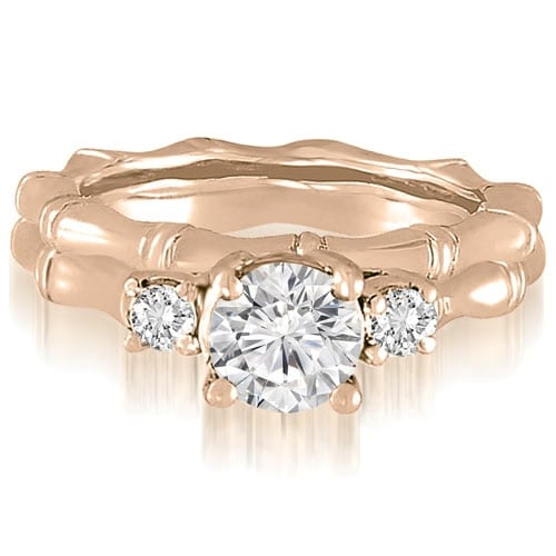 1.25 cttw. 14K Rose Gold Antique Three-Stone Round Diamond Bridal Set