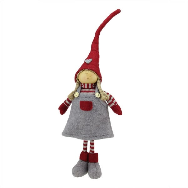 """18.25"""" Cheerful Standing Young Girl Gnome in Gray Dress and Heart Winter Hat Christmas Decoration - RED"""