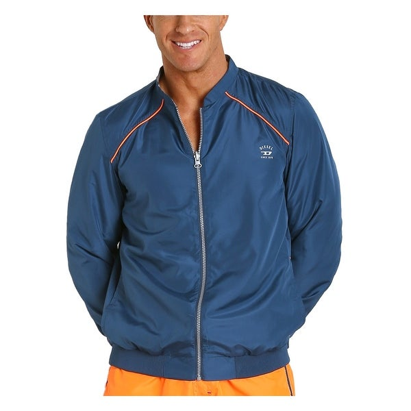 Diesel Roger 00SFLD Reversible Windbreaker Jacket Blue and Orange Small S