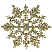 Club Pack of 24 Gold Glamour Glitter Snowflake Christmas Ornaments 4""