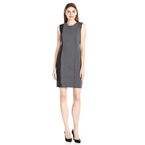 T Tahari Womens Kinley Scuba Dress, Grey Melange, 12