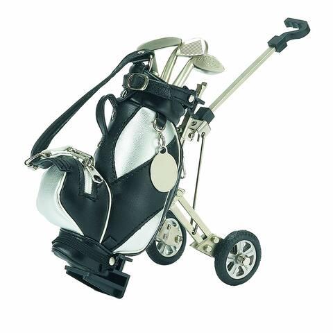 "7.25"" Silver and Black Golf Bag Pen Set and Holder Desk Organizer Accessory"