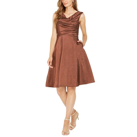 Adrianna Papell Womens A-Line Dress Copper Brown Size 8 Cowl-Neck